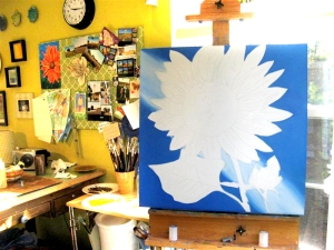 painting a sunflower on 11/16/09 (1 of 3)