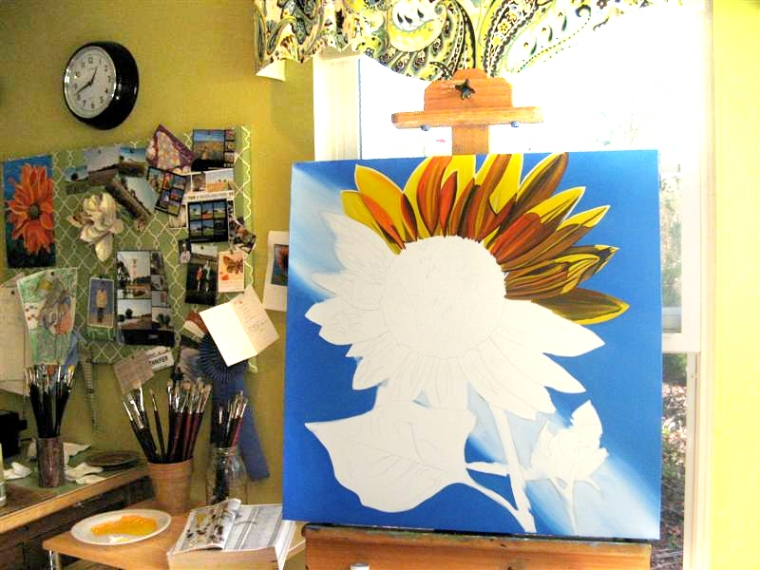 painting a sunflower on 11/16/09 (3 of 3)