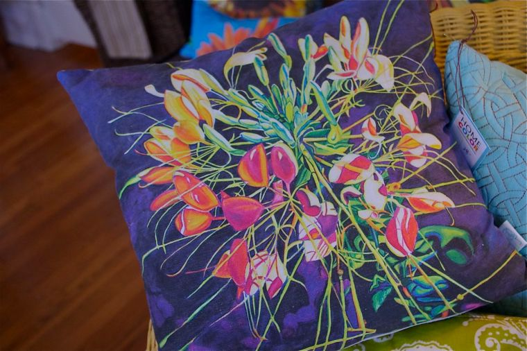 SPIDER FLOWER • my painting on a pillow! • $40