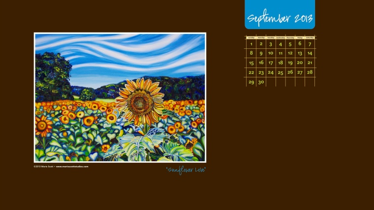 SUNFLOWER LOVE • 30 inch x 40 inch oil painting • ©2013 Marie Scott