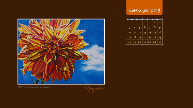 November 2013 Desktop Calendar. Click on the image to download and save to your computer's desktop for the month of November.