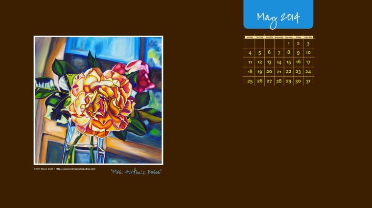 MRS. HORTON'S ROSES • ©2014 Marie Scott [click here to save this free calendar for your May computer desktop calendar]