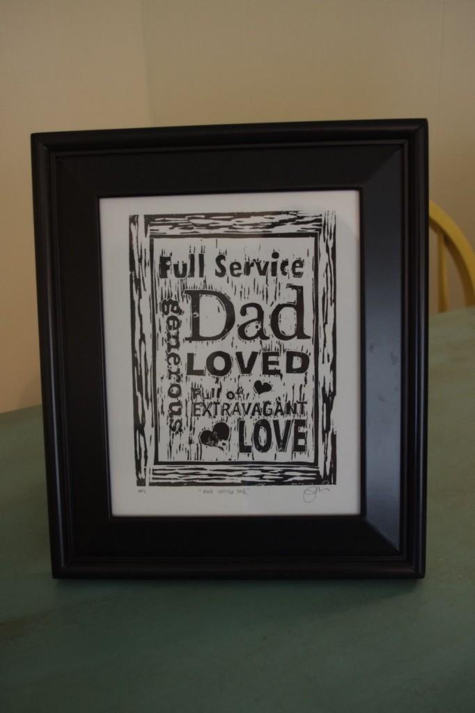 """""""Full-Service Dad""""• linoleum block print •  ©2014 Marie Scott"""