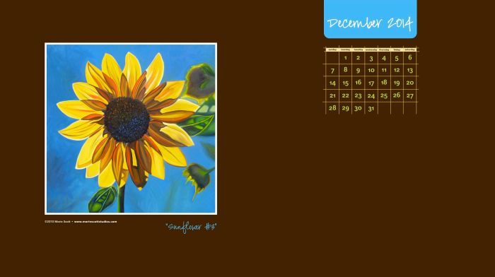SUNFLOWER #3 • ©Marie Scott 2010 [Download this free desktop calendar and use it on your computer this month!]