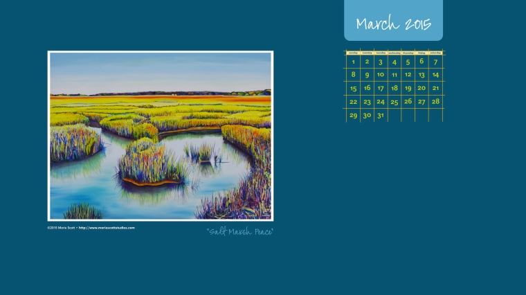 SALT MARSH PEACE • 30 inch x 40 inch oil painting • ©2015 Marie Scott [ Use this free calendar to cheer up your computer desktop during the month of March! ]