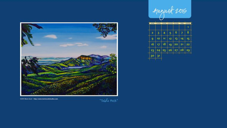 TABLE ROCK • 30 inch x 40 inch original oil painting • ©2015 Marie Scott    [Click on the image to download and enjoy this calendar for your desktop during the month of August!]