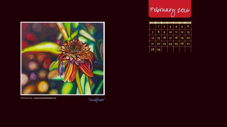 February 2016 Desktop Calendar