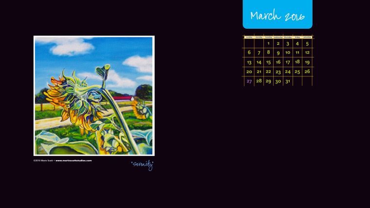 March 2016 Desktop Calendar