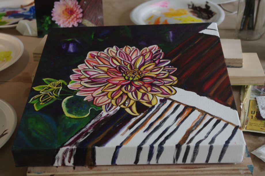 "RESTING. 12"" x 12"" oil painting on canvas. In progress. ©2016 Marie Scott Studios"